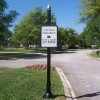 Caution Sign With Custom Post, Backer, Base & Finial